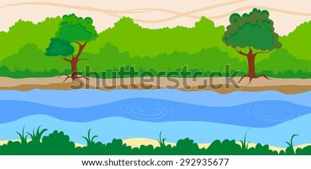 Riverside landscape background - stock vector