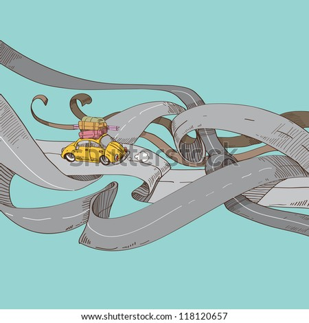Road abstract - stock vector