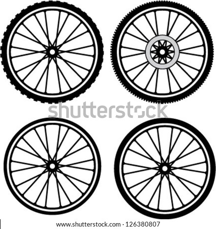 Road and Mountain Bike Wheels and Tires - stock vector