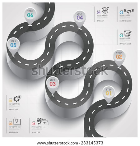 Road And Street Traffic Sign Curve Step Business Infographic Design Template - stock vector