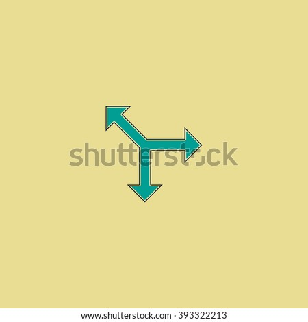 road arrow Flat line icon on yellow background. Vector pictogram with stroke - stock vector
