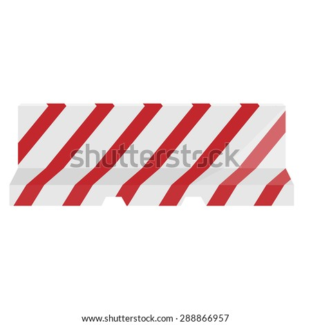 Road barrier striped red and white vector illustration. Traffic barrier. Road block. - stock vector