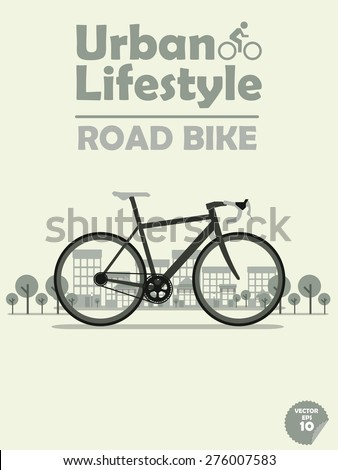 road bike on town background,cycling in town,cycling or commuting in city urban environment,ecological transportation concept,urban transportation lifestyle,road bike poster,road bike wallpaper - stock vector