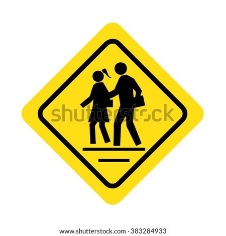 Road crossing sign - stock vector