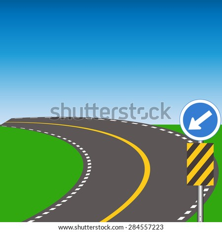 road curved - stock vector