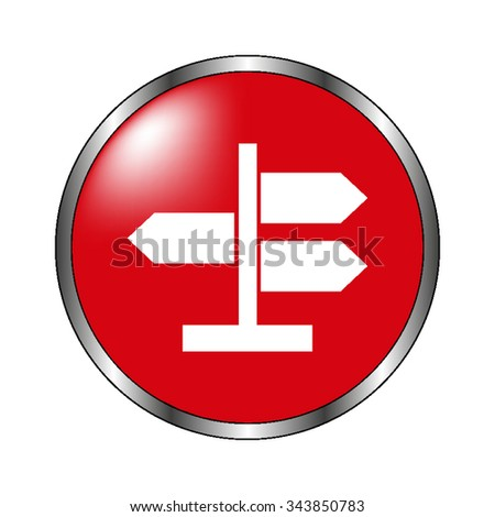 Road direction sign - vector icon on the  red button - stock vector