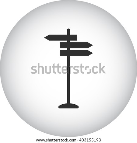 Road directions sign simple icon on  background - stock vector