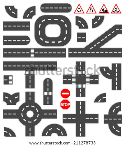 Road elements - stock vector