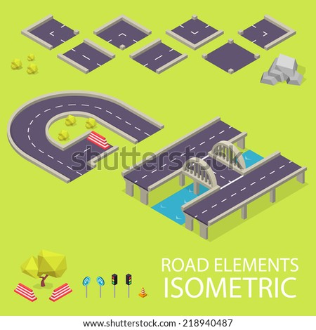 Road elements isometric. Road font. Letters G and H - stock vector