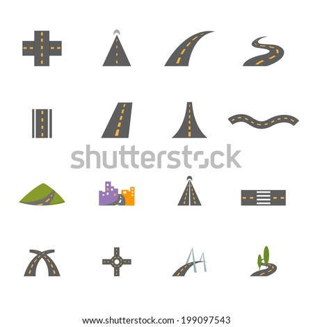 Road icons vector eps10 - stock vector