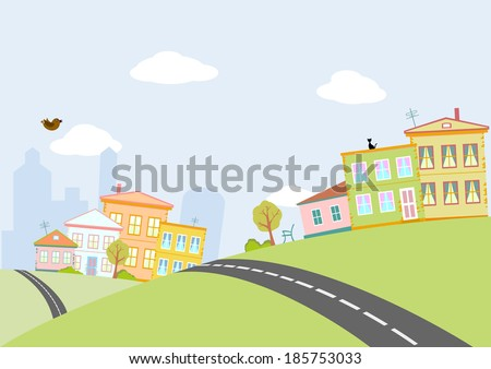 road in city - stock vector