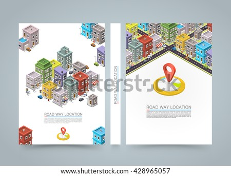Road in the city Isometric banner, cityscape location black book, A4 size, Vector background - stock vector