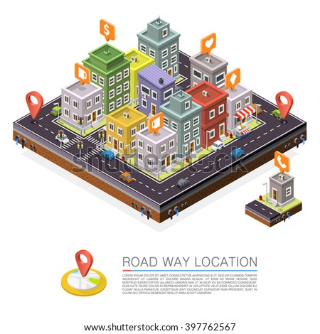 Road in the city Isometric, cityscape apartment location illustration, Road way location apartment, Vector background - stock vector