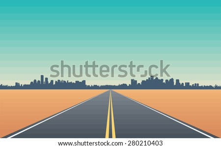 Road in the Desert with Views of the City Skyline - Stylized Conceptual Illustration - stock vector