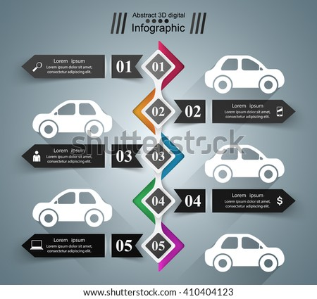 Road infographic design template and marketing icons. Car icon. - stock vector