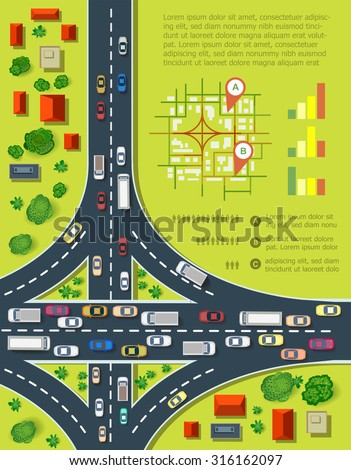 Road infographics with highways with lots of cars. Map of traffic congestion and urban transport. Top view of the city with houses and highways. - stock vector