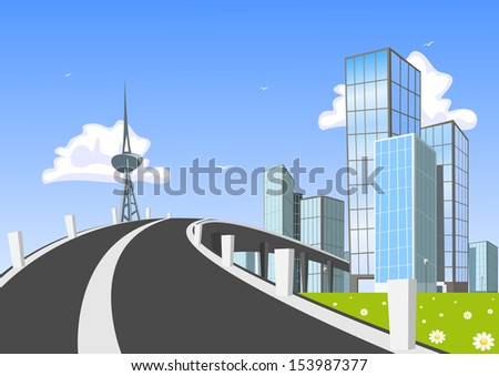 Road into town. Vector Illustration - stock vector
