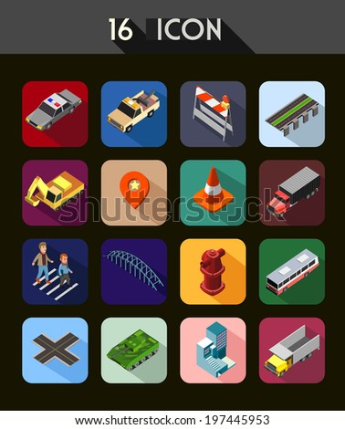 road kit set isometric modern icon - stock vector