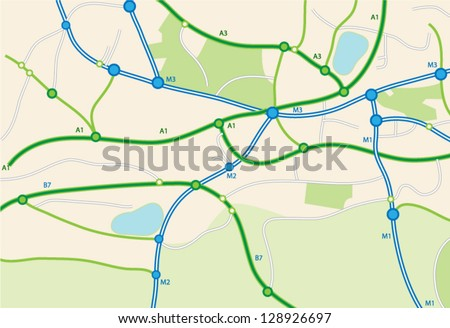 Road map - stock vector