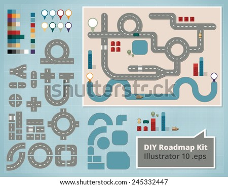 Road Map Design Elements, Set of Illustrations. Create your own map using these comic style design elements for a traffic road map with cars, houses, river, boat and orientation signs. - stock vector