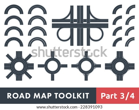 Road Map Toolkit. Part 3 of 4: Turns roads and Roundabouts - stock vector