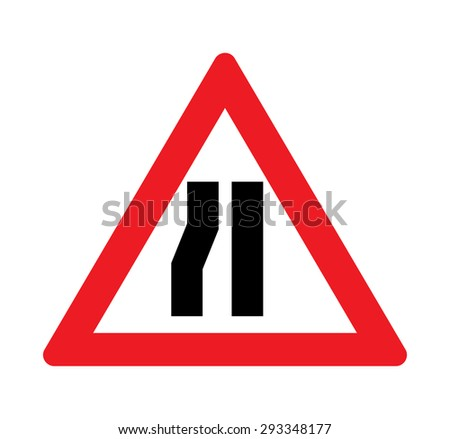Road narrows left side warning of traffic signs. - stock vector