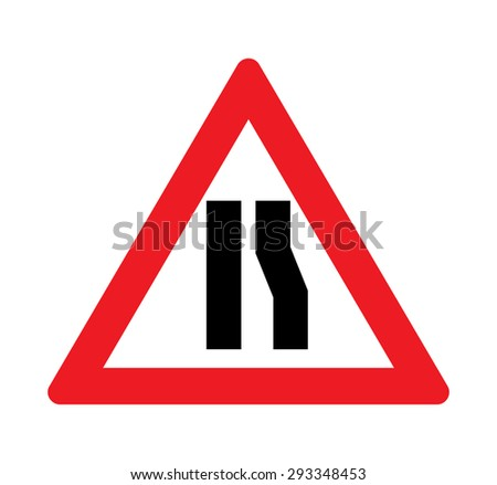 Road narrows  right side warning of traffic signs. - stock vector