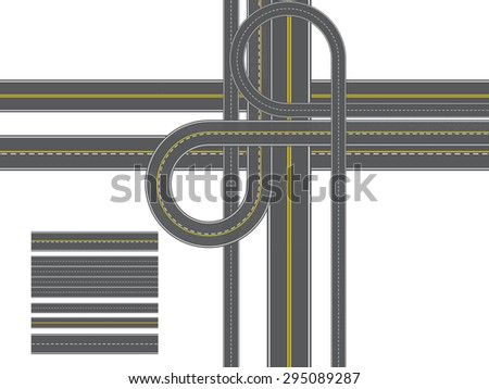 road of Isolated Connectable Highway Elements, vector illustration - stock vector