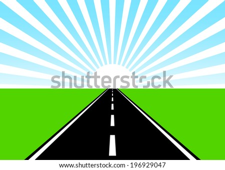 Road on green meadow - stock vector