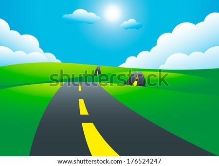 Road on the hills landscape, vector illustration - stock vector