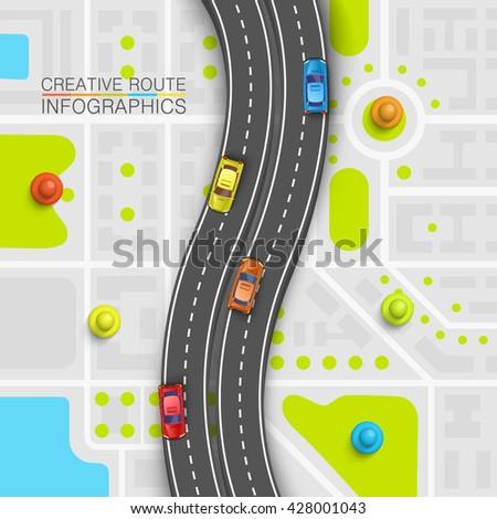 Road point information art map, Map location background, Road transportation point, Vector illustration - stock vector