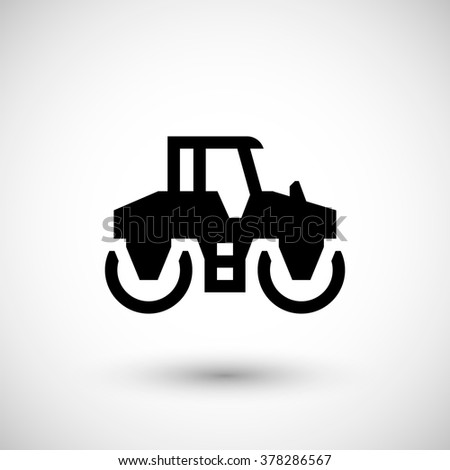 Road roller icon - stock vector