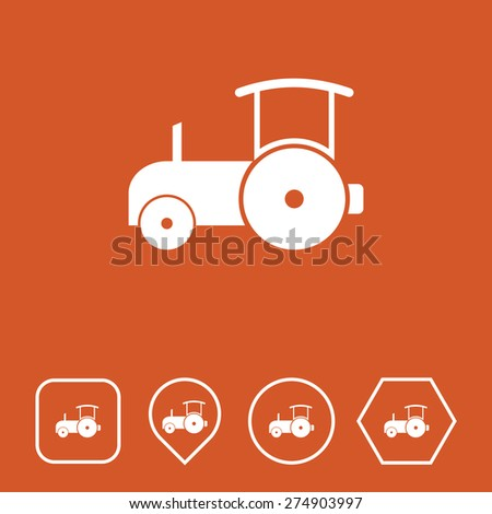 Road Roller Icon on Flat UI Colors with Different Shapes. Eps-10. - stock vector
