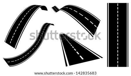 road set - stock vector