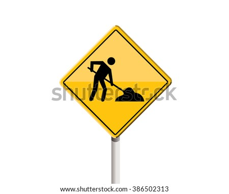 road sign construction zone or construction site - stock vector
