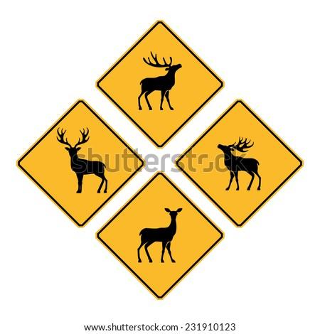 Cross Roads Sign Road Sign Deer Crossing