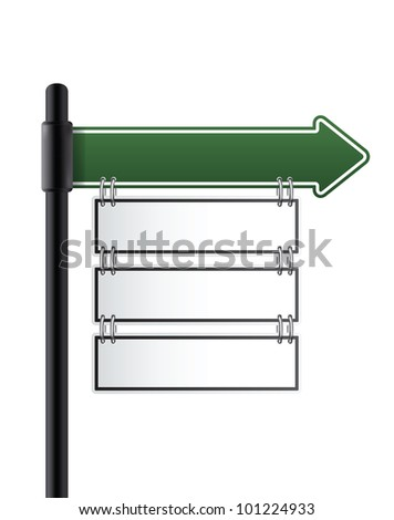 road sign.green color. vector - stock vector