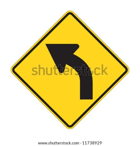 Road Sign - Left Turn Warning - stock vector