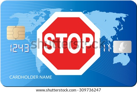 road sign STOP on credit card - stock vector