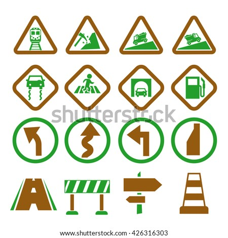 road sign, symbol road icon set - stock vector