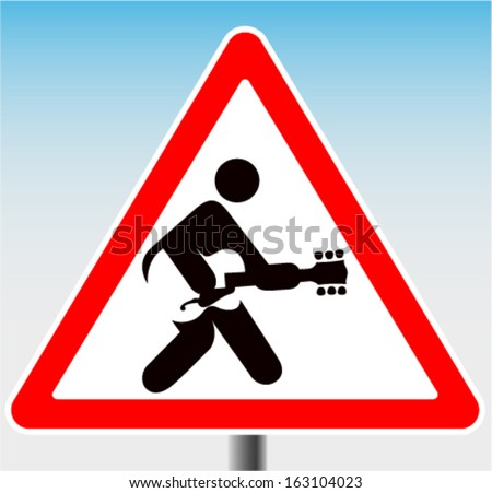 Road sign with Icon man playing guitar rock and roll - stock vector