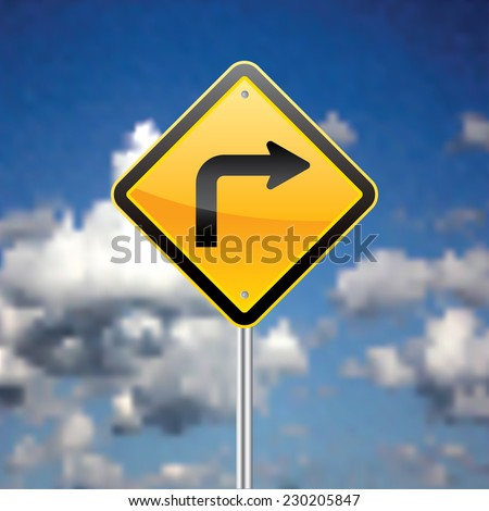 Road sign with sky in the background vector illustration. - stock vector