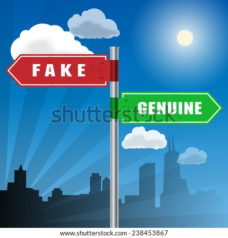 Road sign with words Fake, Genuine, vector illustration - stock vector
