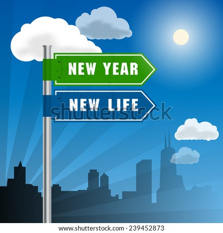 Road sign with words New Year, New Life, vector illustration - stock vector