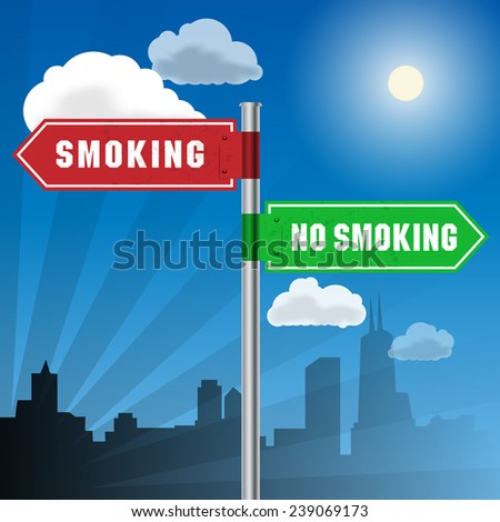 Road sign with words Smoking, No Smoking, vector illustration - stock vector