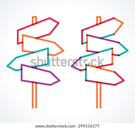 Road signs, blank arrow boards. Signpost with four arrows. Transparent overlapping colorful linear vector illustration. Place for your text  - stock vector