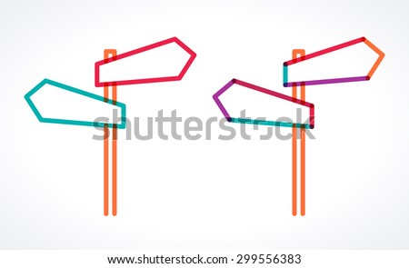 Road signs, blank arrow boards. Signpost with two arrows. Transparent overlapping colorful linear vector illustration. Place for your text  - stock vector