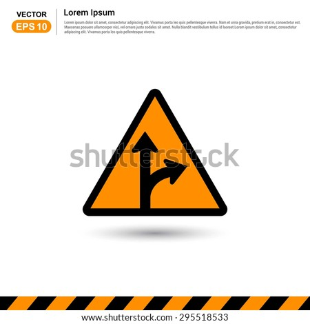 Road signs. Go Straight - Turn Right - Form in Road Sign - Orange Traffic sign icon - stock vector