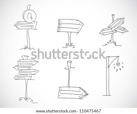 Road signs of different positions - stock vector