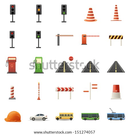 Road signs, traffic lights, cars collection - stock vector